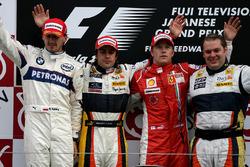 Robert Kubica, BMW Sauber, Fernando Alonso, Renault et Kimi Raikkonen, Ferrari