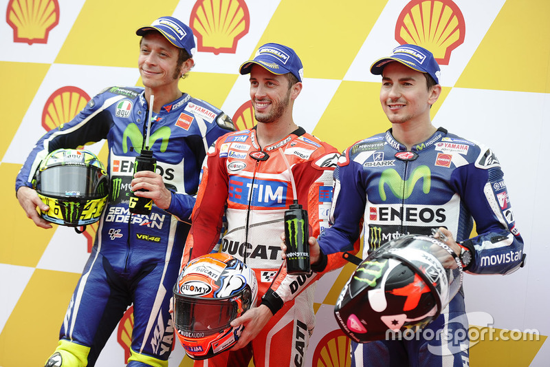 Polesitter Andrea Dovizioso, Ducati Team, posisi kedua Valentino Rossi, Yamaha Factory Racing, posis