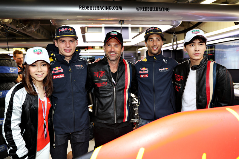 Max Verstappen, Red Bull Racing, Daniel Ricciardo, Red Bull Racing, cantante chino, G.E.M., actor chino, Li Yifeng y Patrick Dempsey, actor