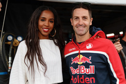 Former Destiny's Child singer Kelly Rowland chats with Jamie Whincup, Triple Eight Race Engineering Holden