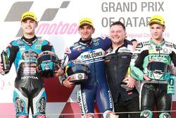 Podium : le deuxième, Aron Canet, Estrella Galicia 0,0, le vainqueur Jorge Martin, Del Conca Gresini Racing Moto3, Fausto Gresini, Team Manager Gresini Racing et le troisième, Lorenzo Dalla Porta, Leopard Racing