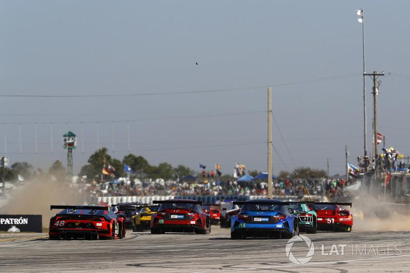 #48 Paul Miller Racing Lamborghini Huracan GT3, GTD: Madison Snow, Bryan Sellers, Corey Lewis, #15 3GT Racing Lexus RCF GT3, GTD: Jack Hawksworth, David Heinemeier Hansson, Sean Rayhall, #14 3GT Racing Lexus RCF GT3, GTD: Dominik Baumann, Kyle Marcelli, Ph