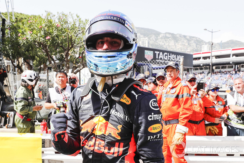 Daniel Ricciardo, Red Bull Racing, fête sa pole position