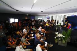 Sergio Perez, Force India, Nico Hulkenberg, Renault Sport F1 Team, Sebastian Vettel, Ferrari, en Brendon Hartley, Toro Rosso