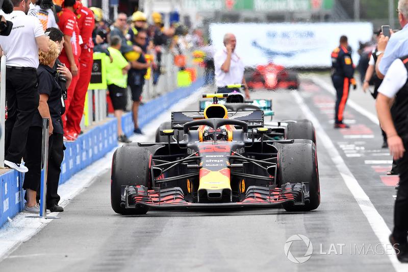 Max Verstappen, Red Bull Racing RB14 arrives in parc ferme