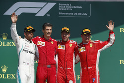 Lewis Hamilton, Mercedes-AMG F1,Claudio Albertini, Ferrari Engineer, Sebastian Vettel, Ferrari and Kimi Raikkonen, Ferrari celebrate on the podium