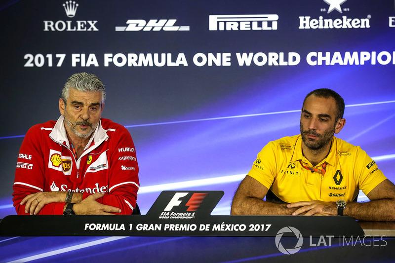 Maurizio Arrivabene, director Ferrari Team y Cyril Abiteboul, Renault Sport F1 Director
