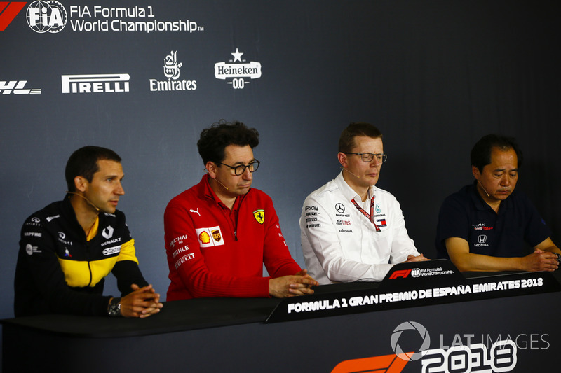 Remi Taffin, Director of Operations, Renault Sport F1, Mattia Binotto, Chief Technical Officer, Ferrari, Andy Cowell, Managing Director, HPP, Mercedes AMG, and Toyoharu Tanabe, F1 Technical Director, Honda, in the Team Principals Press Conference