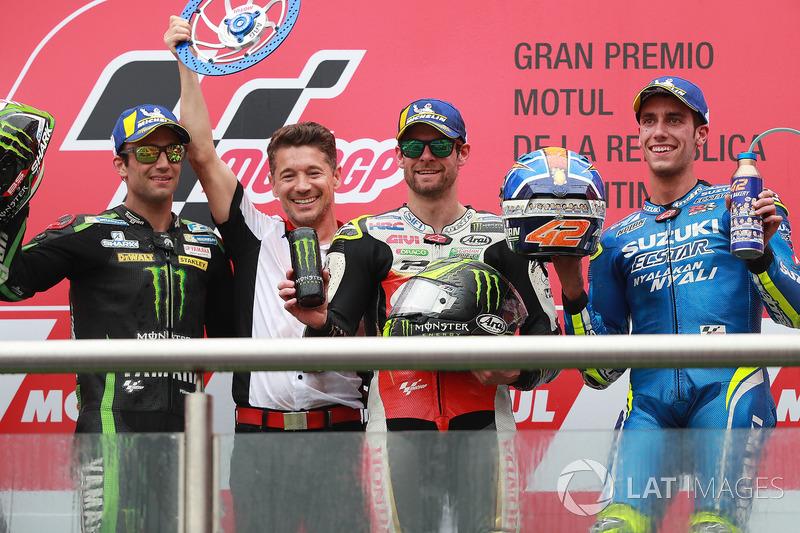 Segundo puesto Johann Zarco, Monster Yamaha Tech 3, Lucchinello, ganador de la carrera Cal Crutchlow, Team LCR Honda, tercer puesto Alex Rins, Team Suzuki MotoGP