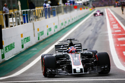 Romain Grosjean, Haas F1 Team VF-17, leaves the pit lane
