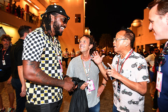 Chris Gayle, Crickter, talks with Ong Beng Seng, Owner Hotel Properties Ltd