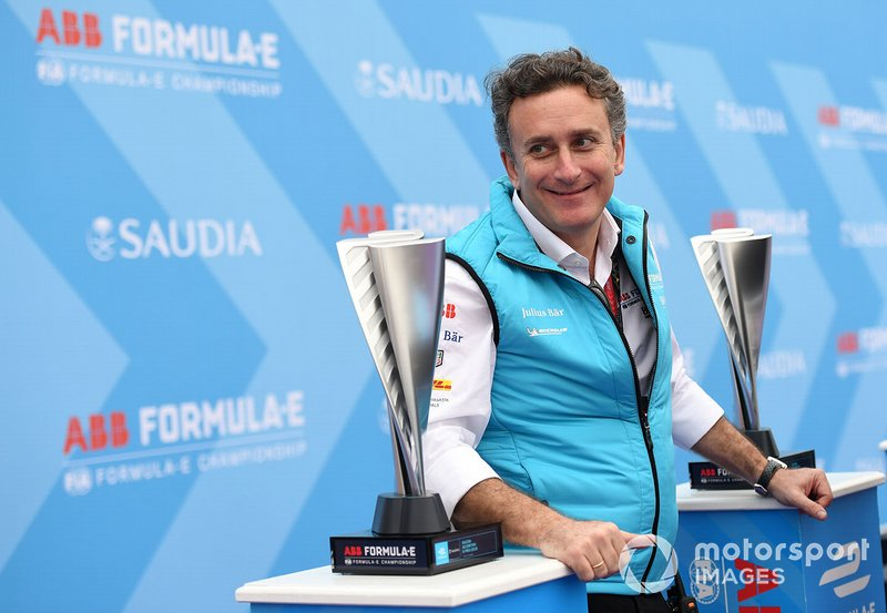 Alejandro Agag, CEO, Formula E on the podium