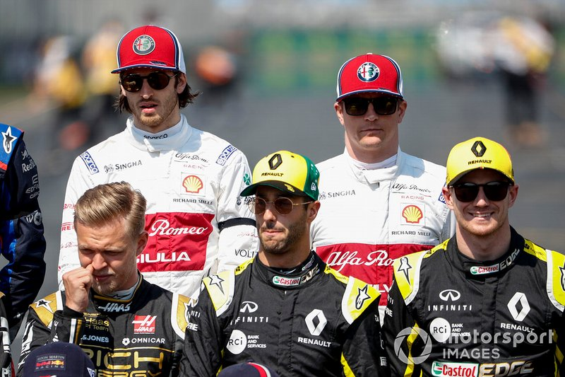 Antonio Giovinazzi, Alfa Romeo Racing, Kimi Raikkonen, Alfa Romeo Racing, Kevin Magnussen, Haas F1, Daniel Ricciardo, Renault F1 Team, y Nico Hulkenberg, Renault F1 Team