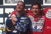 Подіум: другий призер та новоспечений чемпіон Найджел Менселл, Williams Renault, і переможець Айртон Сенна, Mclaren Honda