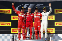 Podium: race winner Sebastian Vettel, Ferrari, second place Kimi Raikkonen, Ferrari, third place Valtteri Bottas, Mercedes AMG F1, Jock Clear, Engineering Director, Ferrari