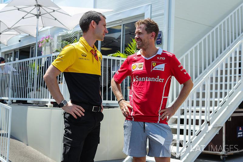 Sebastian Vettel, Ferrari und Remi Taffin, Renault