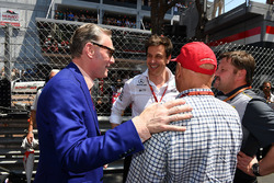Niki Lauda, Mercedes AMG F1 Non-Executive Chairman, Toto Wolff, Mercedes AMG F1 Director of Motorsport  and Sean Bratches, Formula One Managing Director, Commercial Operations