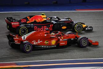 Sebastian Vettel, Ferrari SF71H lotta con Max Verstappen, Red Bull Racing RB14