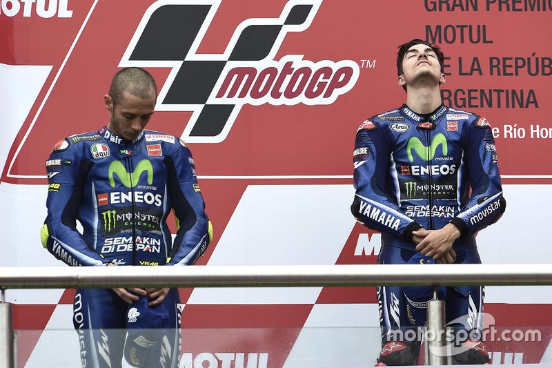 Podium: 1. Maverick Viñales, Yamaha Factory Racing; 2. Valentino Rossi, Yamaha Factory Racing