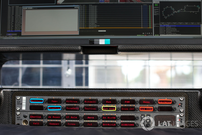 Mercedes-Benz F1 W08  pit wall gantry and radio panel