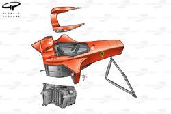 Ferrari F2001 chassis, driver headrest, single piece lower front wishbone and internal sidepod housi