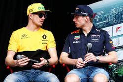 Nico Hulkenberg, Renault Sport F1 Team with Max Verstappen, Red Bull Racing