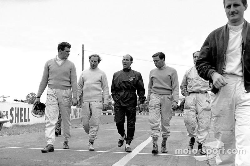 1961: Tim Parnell, Innes Ireland, Stirling Moss, Jim Clark, Jack Fairman und Lucien Bianchi
