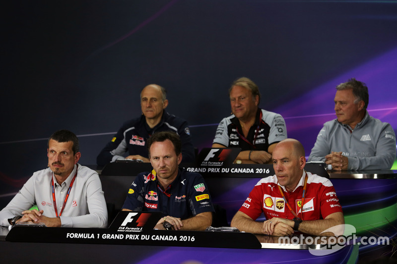 The FIA Press Conference (From back row (L to R)): Franz Tost, Scuderia Toro Rosso Team Principal; Robert Fernley, Sahara Force India F1 Team Deputy Team Principal; Dave Ryan, Manor Racing Racing Director; Guenther Steiner, Haas F1 Team Principal; Christian Horner, Red Bull Racing Team Principal; Jock Clear, Ferrari Engineering Director.