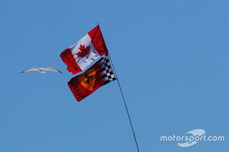 Canadian and Ferrari flags