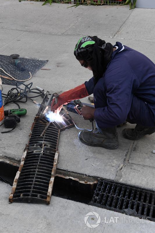 Track worker welding