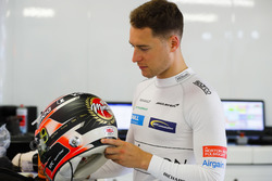 Stoffel Vandoorne, McLaren, checks out his special helmet design
