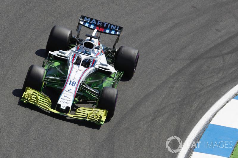 Beaucoup de peinture aérodynamique sur la voiture de Lance Stroll, Williams FW41