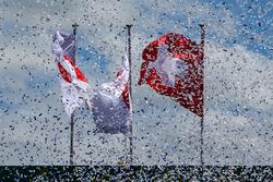 Banderas japonesas y suizas