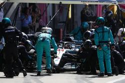 Lewis Hamilton, Mercedes AMG F1 W09, makes a pit stop