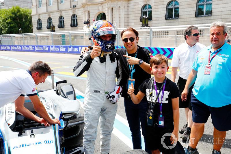 Emerson Fittipaldi, former F1 World Champion, Indy 500 winner, drives the Formula E car, with Felipe Massa, ex Formula 1 driver