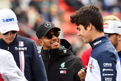 Lewis Hamilton, Mercedes-AMG F1 and Lance Stroll, Williams on the drivers parade