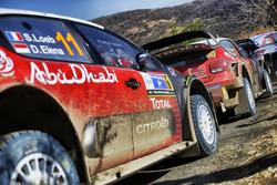 The cars of Sébastien Loeb , Daniel Elena, Citroën World Rally Team Citroën C3 WRC, Kris Meeke, Paul Nagle, Citroën World Rally Team Citroën C3 WRC