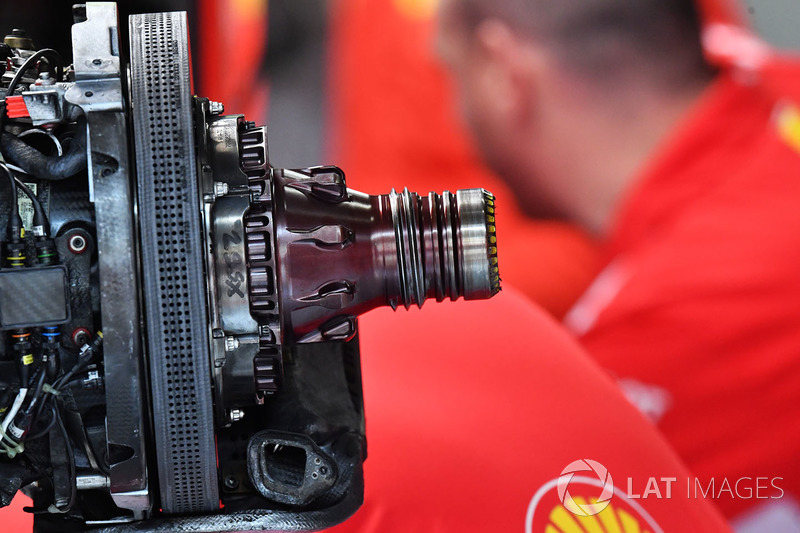 Ferrari front brake and wheel hub detail