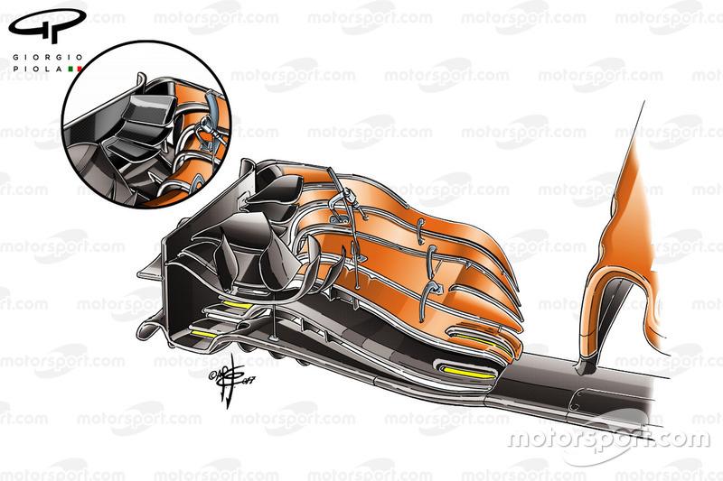 McLaren MCL32 nuevo alerón delantero, GP de Estados Unidos