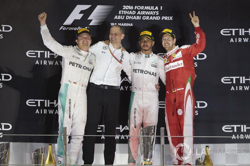 2016: 1. Lewis Hamilton, 2. Nico Rosberg, 3. Sebastian Vettel