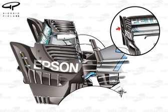 Mercedes AMG F1 W09 vergelijking achtervleugel, Singapore GP