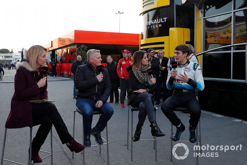 Rachel Brooks, Sky TV, Johnny Herbert, Sky TV, Natalie Pinkham, Sky TV and George Russell, Williams Racing