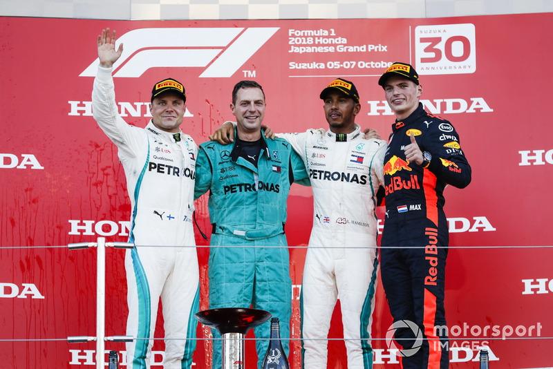 A foto oficial do pódio do GP do Japão de 2018.