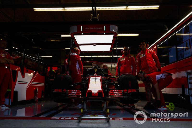 The car of Kimi Raikkonen, Ferrari SF71H, in the garage.