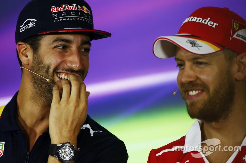 Daniel Ricciardo, Red Bull Racing y Sebastian Vettel, Ferrari