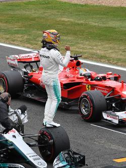 Pole sitter Lewis Hamilton, Mercedes-Benz F1 W08  celebrates in parc ferme