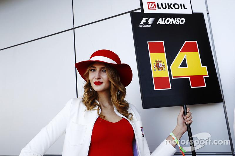 Grid Girl holding Fernando Alonso's grid board