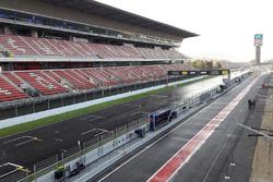 Die bewässerte Strecke in Barcelona
