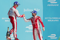 Nick Heidfeld, Mahindra Racing, congratulates Felix Rosenqvist, Mahindra Racing, on the podium
