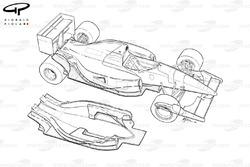 Vue détaillée du fond plat de la Ferrari F92A (644)